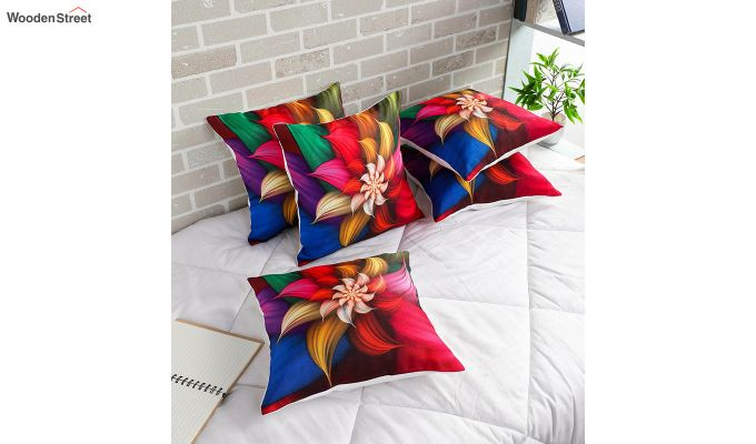 Abstract Floral Pattern Jute Cushion Covers (Set of 5)-1