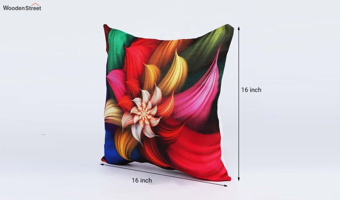 Abstract Floral Pattern Jute Cushion Covers (Set of 5)-7
