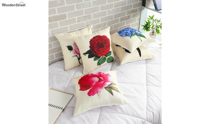 Abstract Flowers Pattern Jute Cushion Covers (Set of 5)-1