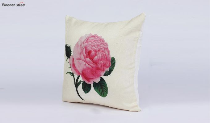 Abstract Flowers Pattern Jute Cushion Covers (Set of 5)-3