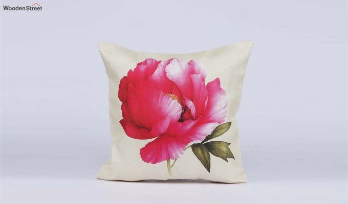 Abstract Flowers Pattern Jute Cushion Covers (Set of 5)-6