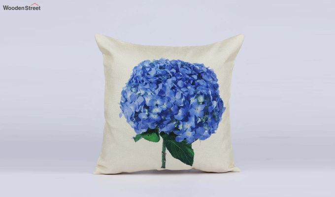 Abstract Flowers Pattern Jute Cushion Covers (Set of 5)-7