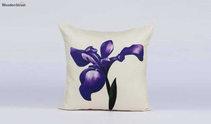 Abstract Flowers Pattern Jute Cushion Covers (Set of 5)-4