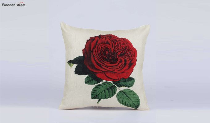 Abstract Flowers Pattern Jute Cushion Covers (Set of 5)-5