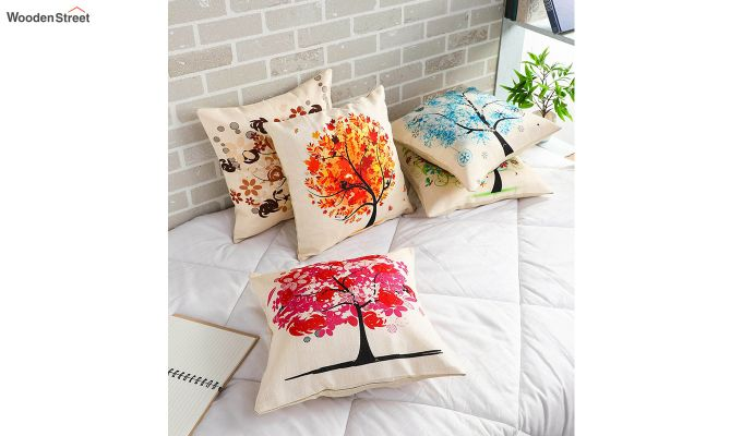 Abstract Forest Pattern Jute Cushion Covers (Set of 5)-1