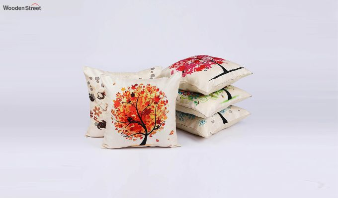 Abstract Forest Pattern Jute Cushion Covers (Set of 5)-2