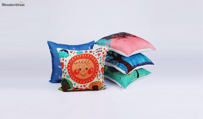 Abstract Multicolour Jute Cushion Covers (Set of 5)-2