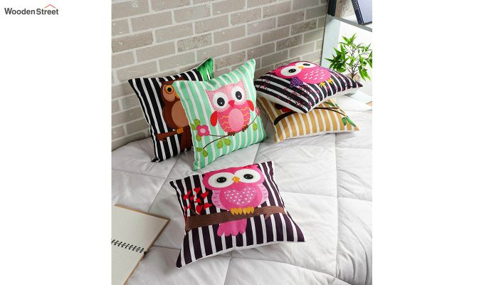 Abstract Owl Pattern Jute Cushion Covers (Set of 5)-1