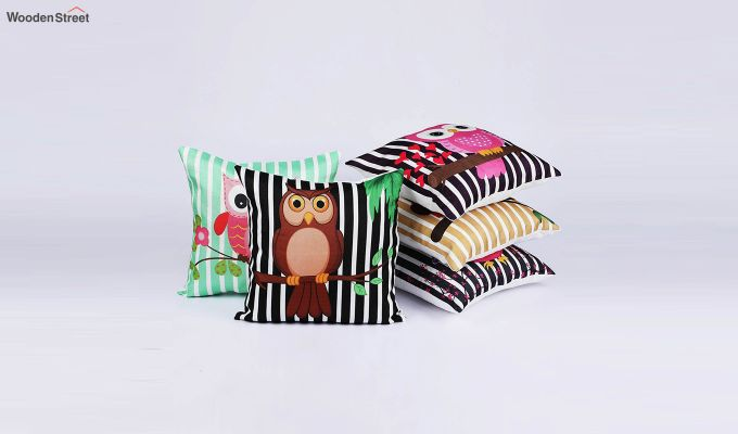 Abstract Owl Pattern Jute Cushion Covers (Set of 5)-2