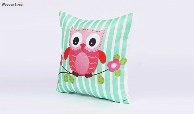 Abstract Owl Pattern Jute Cushion Covers (Set of 5)-3