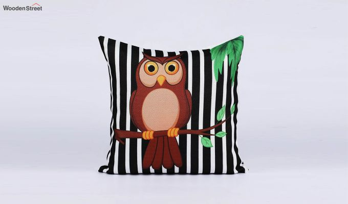 Abstract Owl Pattern Jute Cushion Covers (Set of 5)-4