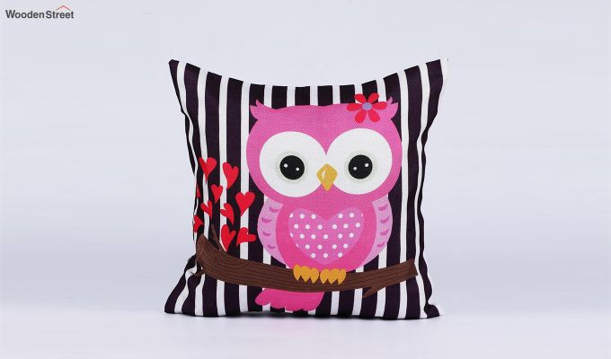 Abstract Owl Pattern Jute Cushion Covers (Set of 5)-5