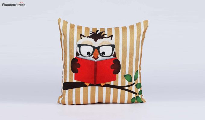 Abstract Owl Pattern Jute Cushion Covers (Set of 5)-6