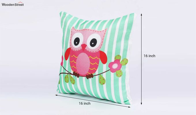 Abstract Owl Pattern Jute Cushion Covers (Set of 5)-9