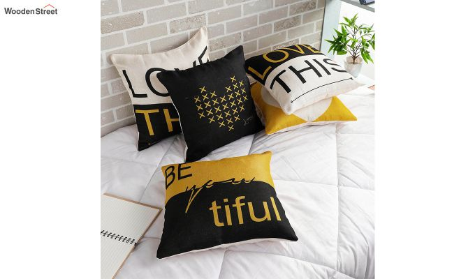 Abstract Pattern Jute Black Cushion Covers (Set of 5)-1