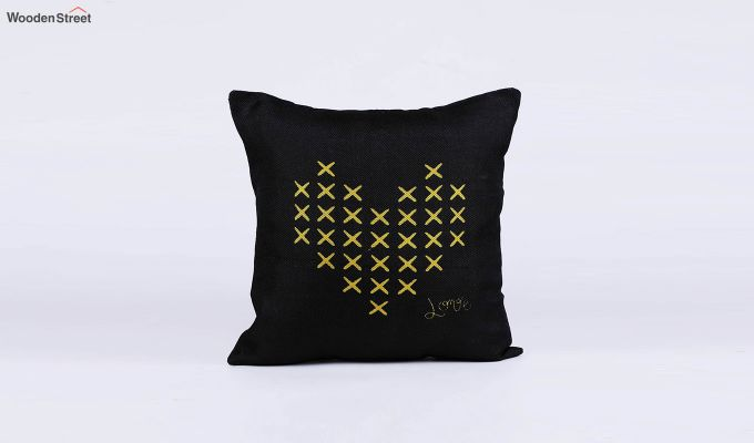 Abstract Pattern Jute Black Cushion Covers (Set of 5)-6