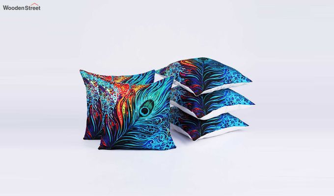 Abstract Pattern Jute Blue Cushion Covers (Set of 5)-2