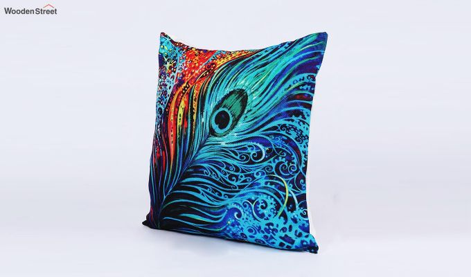 Abstract Pattern Jute Blue Cushion Covers (Set of 5)-3