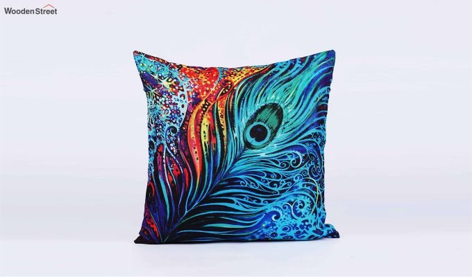 Abstract Pattern Jute Blue Cushion Covers (Set of 5)-4