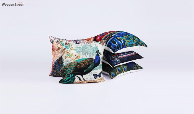 Abstract Peacock Pattern Jute Cushion Covers (Set of 5)-2