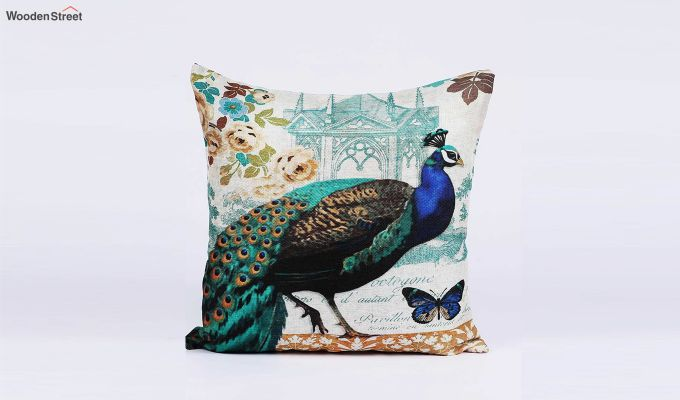 Abstract Peacock Pattern Jute Cushion Covers (Set of 5)-5