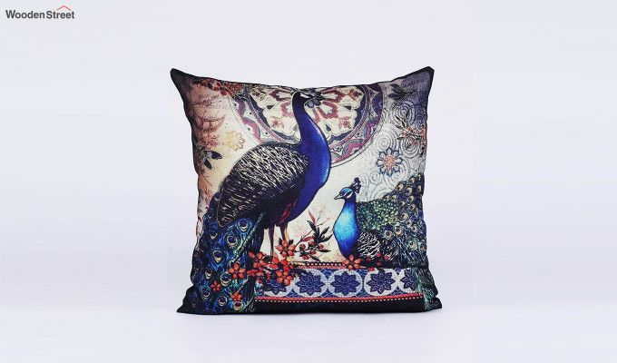 Abstract Peacock Pattern Jute Cushion Covers (Set of 5)-6