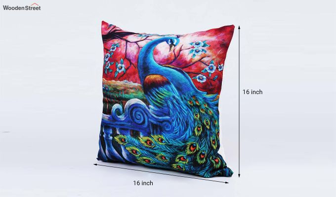 Abstract Peacock Pattern Jute Cushion Covers (Set of 5)-8