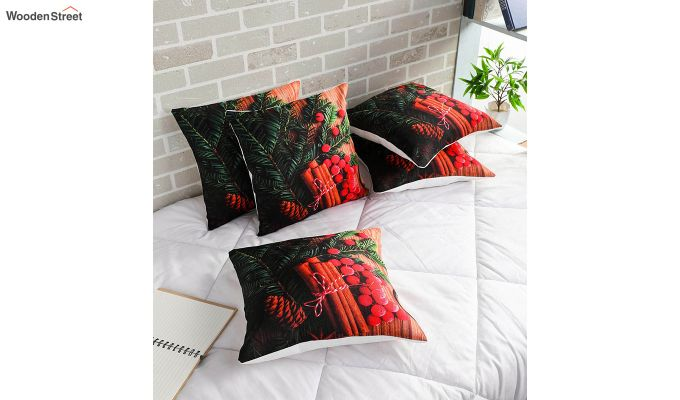 Abstract Red Flowers Pattern Jute Cushion Covers (Set of 5)-1