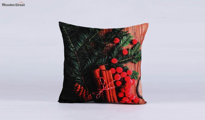 Abstract Red Flowers Pattern Jute Cushion Covers (Set of 5)-5