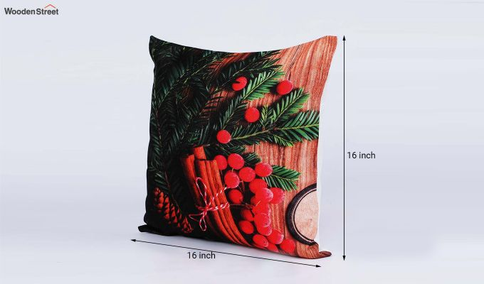 Abstract Red Flowers Pattern Jute Cushion Covers (Set of 5)-7