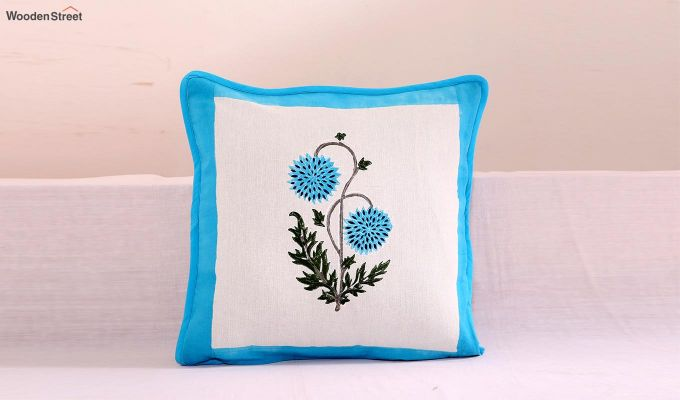 Blue Daisies Cushion Cover (Set Of 4)-2