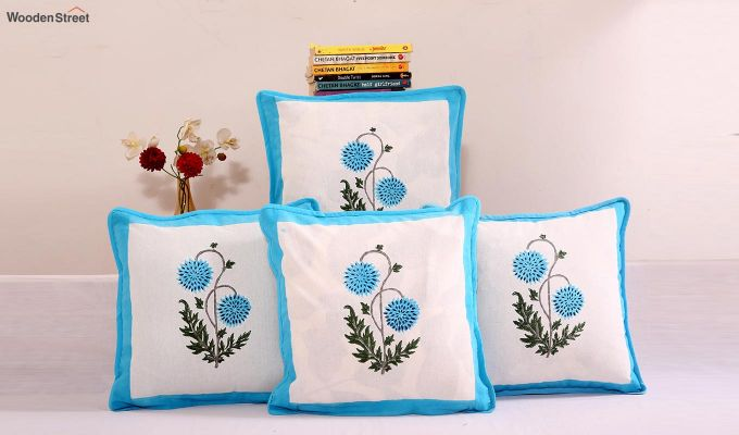 Blue Daisies Cushion Cover (Set Of 4)-1