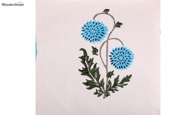Blue Daisies Cushion Cover (Set Of 4)-3
