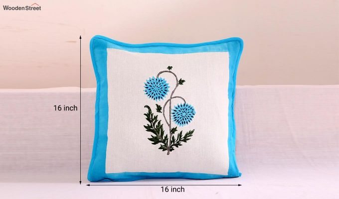 Blue Daisies Cushion Cover (Set Of 4)-5