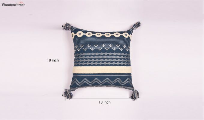 Blue Palace Embroidered Cushion Cover-3