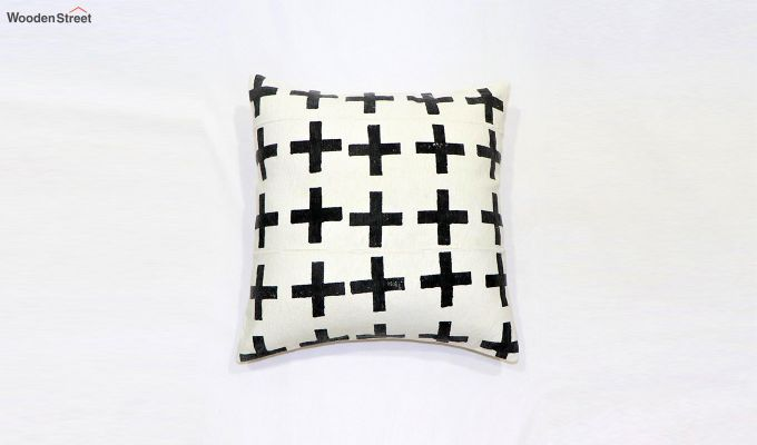 Charcoal Geo Mud Printing Cushion Cover-2