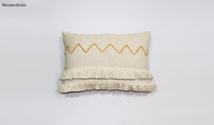 Frilled Cream Embroidered Cushion Cover-2
