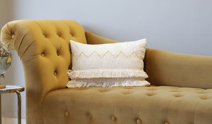 Frilled Cream Embroidered Cushion Cover-1