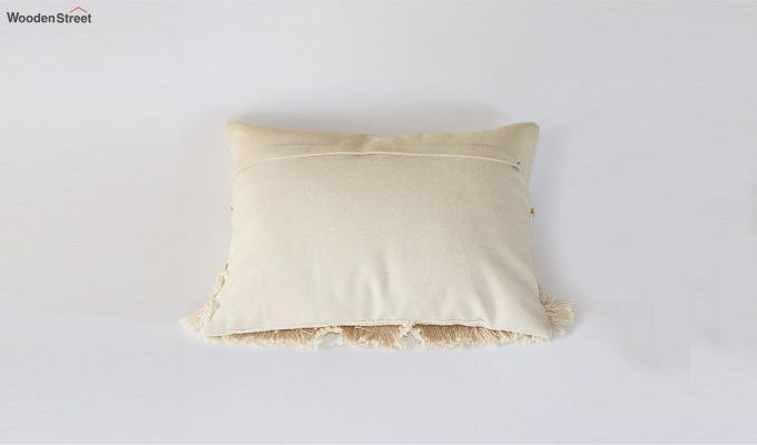 Frilled Cream Embroidered Cushion Cover-3