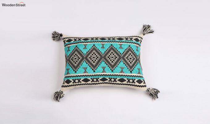 Greek Sky Jacquard Cushion Cover-1