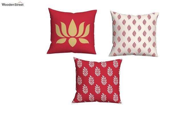 Lotus Red Cushions (Set of 5)-2