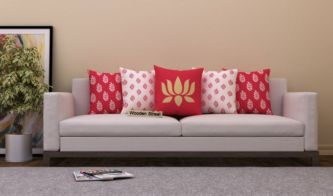 Lotus Red Cushions (Set of 5)-1