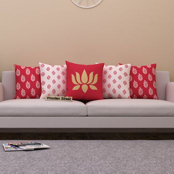 Lotus Red Cushion Covers (Set of 5)