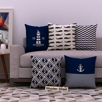 Nautical Blue Cushion Covers (Set of 5)