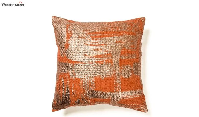Orange and Gold Cotton Abstract Pattern Cushion Cover-2