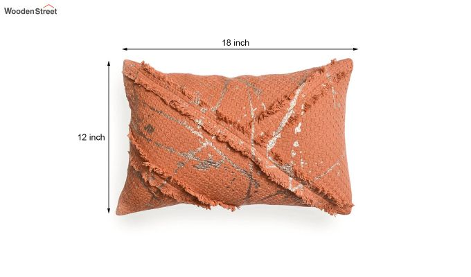 Orange Cotton Abstract Pattern Cushion Cover-5