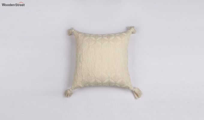Pearl White Jacquard Cushion Cover-1