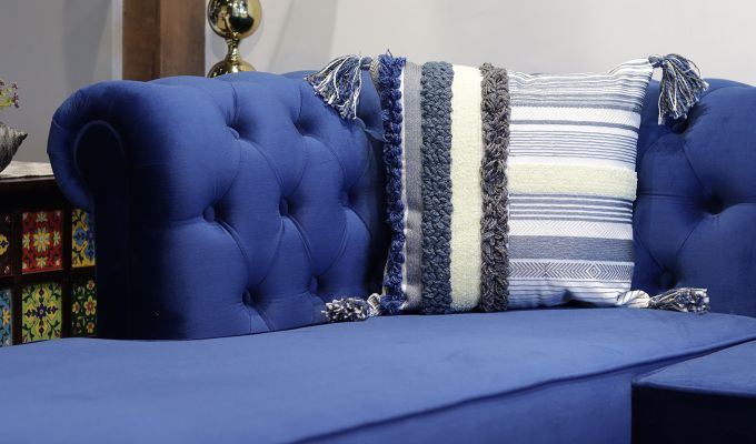 Santos Blue Embroidered Cushion Cover-1