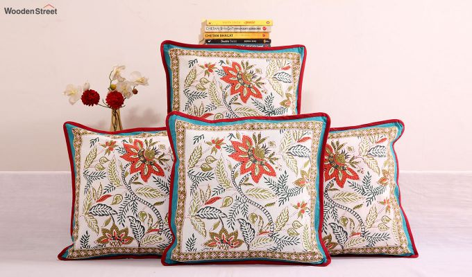 Stencil Bloom Cushion Cover (Set of 4)-1