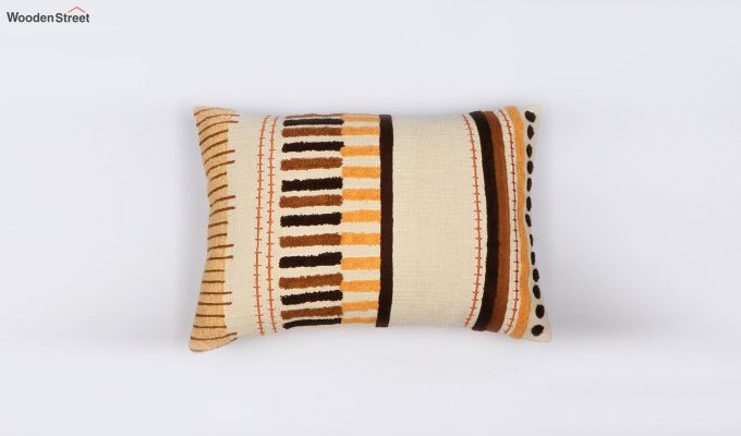 Umber Stripes Embroidered Cushion Cover-1